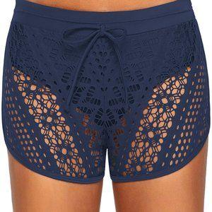 Blue Drawstring Waist Lace Panel Swimsuit Shorts L